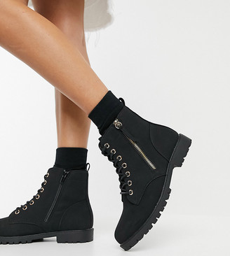 New Look Wide Fit zip detail lace up flat boots in black