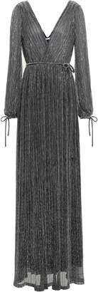 Zac Posen Wrap-effect Metallic Plisse Stretch-knit Gown