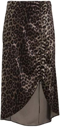 Saylor Dakota Ruched Leopard Midi Skirt
