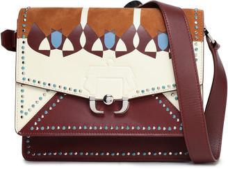 Paula Cademartori Studded Printed Leather And Suede Shoulder Bag