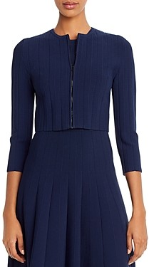 Narciso Rodriguez Cropped Zip-Front Knit Cardigan