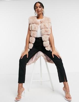 Jayley long length faux fur gilet in blush pink