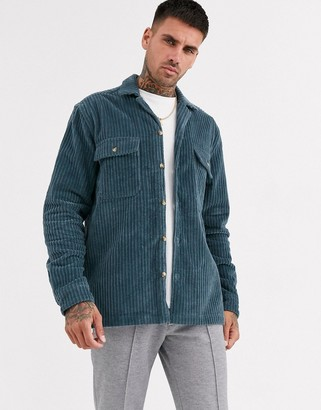 Asos Design DESIGN cord overshirt in dusty blue