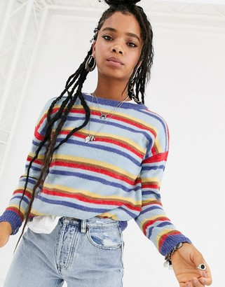 Emory Park fluffy knit stripe sweater
