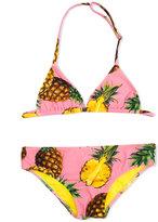 Dolce & Gabbana pineapple print triangle bikini - kids - Polyamide/Spandex/Elastane - 4 yrs