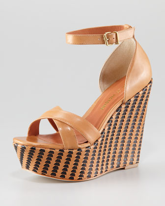 Pour La Victoire Bonita Woven Two-Tone Wedge Sandal, Saddle