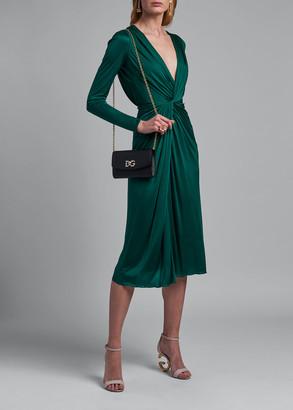 Dolce & Gabbana Jersey V-Neck Long-Sleeve Dress