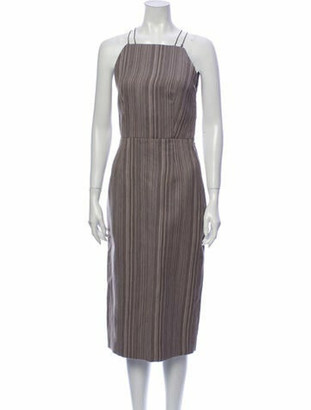 The Row Striped Midi Length Dress Grey