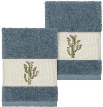Linum Towels Teal Mila Embellished Washcloth - Set of 2