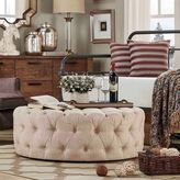 Verona Home Nottingham Chesterfield Button-Tufted Round Ottoman