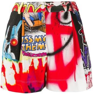 Moschino High-Waist Graphic-Print Shorts