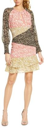 Foxiedox Romilly Mixed Print Long Sleeve Smocked Minidress