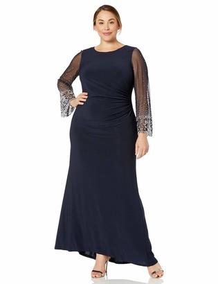 Cachet Women's Plus Size Beaded Sleeve Long Gown