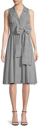 Donna Karan Gingham Sleeveless Wrap Shirtdress