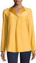 Lafayette 148 New York Shiela Split-Neck Silk Blouse, Mustard
