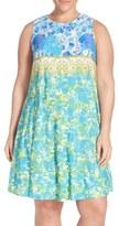 Gabby Skye Plus Size Women's Floral Print Jersey Trapeze Dress