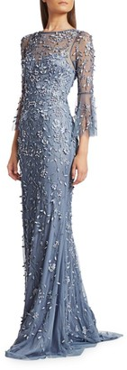 Theia Flounce-Sleeve 3-D Embroidered Gown