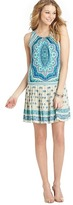 LOFT Scarf Paisley Print Pleated Skirt Dress