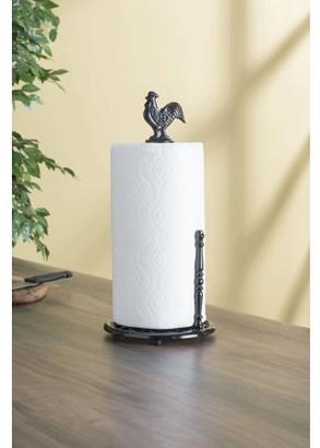 Online Cast Iron Rooster Paper Towel Holder, Black