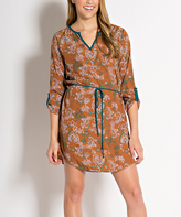 Mocha Floral Tie-Waist Notch Neck Dress