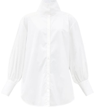 Totême Brenas Stand-collar Cotton-poplin Shirt - White