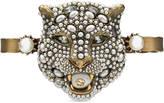 Gucci Feline head palm cuff with crystals