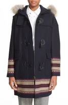 RED Valentino Women's Toggle Coat With Genuine Coyote Fur Trim