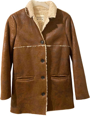 MANGO Brown Polyester Coats