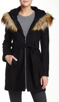 Rachel Roy Faux Fur Hooded Wool Blend Long Coat