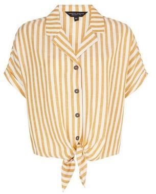 Dorothy Perkins Womens Yellow Stripe Print Shirt With Linen, Yellow