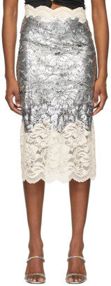 Paco Rabanne Silver Coated Lace Skirt