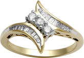 JCPenney FINE JEWELRY 1/3 CT. T.W. Diamond 10K Yellow Gold 3-Stone Bypass Ring