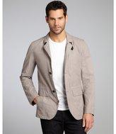 Cole Haan dark khaki waxed cotton blend blazer