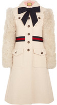 Gucci Faux Shearling-paneled Cotton-blend Tweed Coat - Ivory