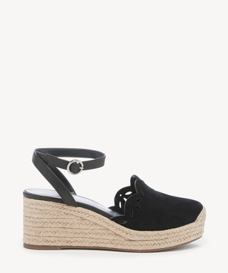 Sole Society Women's Calysa Laser Cut Wedges Black Size 5 Suede From