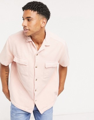 ASOS DESIGN relaxed fit terry cloth shirt with revere collar in pink