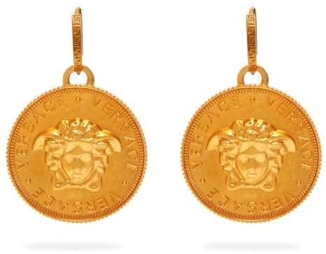 Versace Medusa Coin Brass Earrings - Womens - Gold