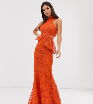 Asos Tall DESIGN Tall high neck lace maxi dress with cut outs and fishtail hem-Red