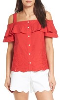 Draper James Women's Nellie Cold Shoulder Embroidered Top