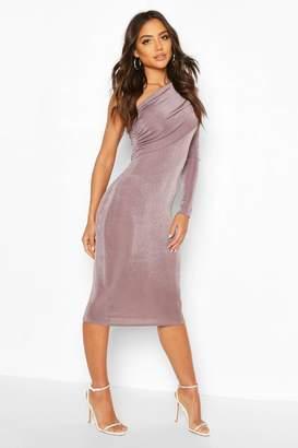 boohoo Texture Slinky Off The Shoulder Midi Dress