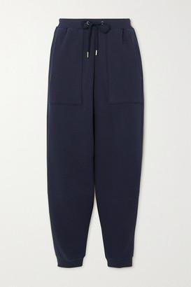 Stella McCartney Net Sustain Cropped Organic Cotton-jersey Track Pants - Navy