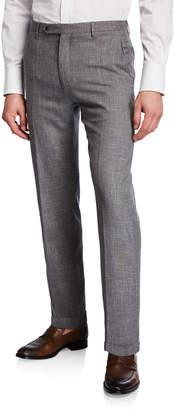 Zanella Men's Slub Weave Dress Trousers