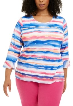 Alfred Dunner Plus Size Printed 3/4-Sleeve Top
