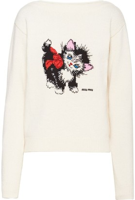 Miu Miu Intarsia-Knit Wool Jumper