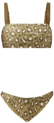 Zimmermann Carnaby Square-neck Leopard-print Bikini - Green Print