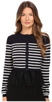 RED Valentino Striped Peplum Sweater