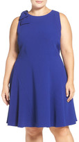 Eliza J Bow Trim Fit & Flare Dress (Plus Size)