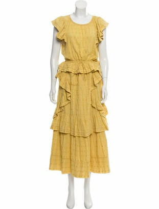 LoveShackFancy Scoop Neck Long Dress Yellow