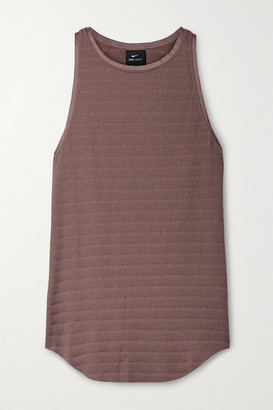 Nike Yoga Grosgrain-trimmed Ribbed Dri-fit Tank - Antique rose