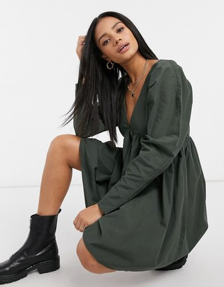 ASOS DESIGN cotton babydoll mini dress in forest green